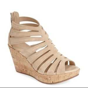New Cordani Electra Suede Cage Cork Wedge Sandals